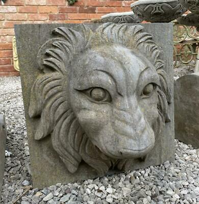 Solid Stone Garden Feature / Fountain - Hand Carved - Lions Head Mask - Heavy