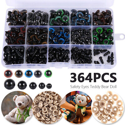 364PCS Black Safety Eyes Noses Washer Box For Teddy Bear Making Soft Doll Toys