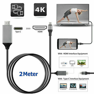 Type C USB-C to 4K HDMI HDTV Cable Adapter For Samsung Phone Macbook Pro 2M