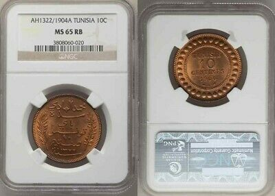 Beautiful 1904A Tunisia Bronze Coin 10 Centimes Muhammad al-Hadi Bey NGC MS 65RB