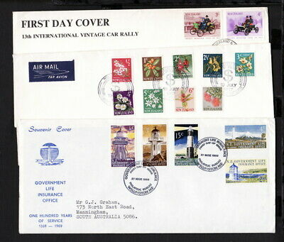 NEW ZEALAND FIRST DAY COVER x 3 including 1969 LIFE  INSURANCE LIGHTHOUSE (L048)