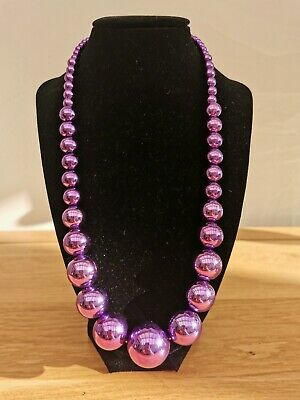 Pink Purple Chrome Shiny Graduated Beaded Necklace Retro 80s Costume Party