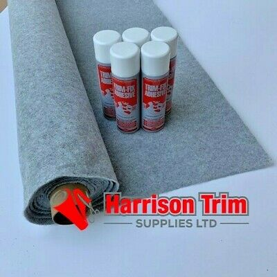 10 sqm EASYLINER SILVER  (4 WAY STRETCH) CAMPER VAN LINING CARPET + 5 TRIMFIX
