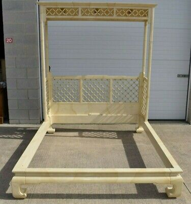 Chinoiserie Henredon Folio 16 Faux Goatskin Queen Size Canopy Bed