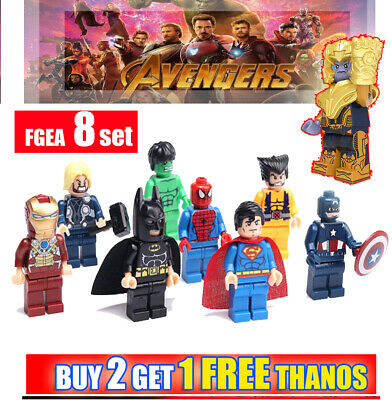8 Super Heros Minifigures Marvel Avengers Endgame Batman Superman Figures