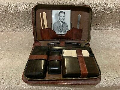 Vintage Mens Travel Toiletry Grooming Kit Cowhide Leather Clark Gable Celluloid