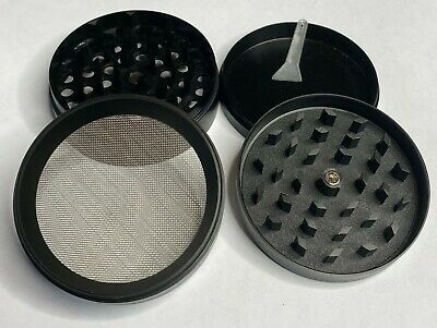 "Grinder Herb Spice Tobacco 4 Piece Crusher Metal Alloy Smoke 2.5"" Black Herbal"