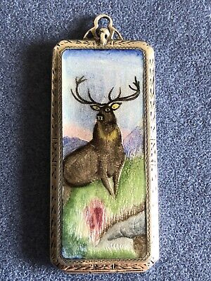 Antique Sterling Silver With Enamel Card Case- Pendant
