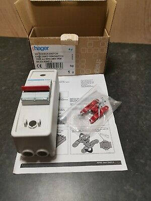 Hager 100 Amp Double Pole Isolator, Plastic meter box enclosed switch