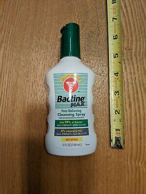 Bactine Max Pain Relieving Cleansing Spray 4% Lidocaine 5 oz Kills 99% of Germs