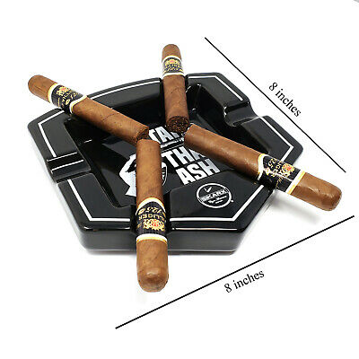 Stunning Black & White 6 Large Cigar Rest Patio/Outside/Indoor Cigars Ashtray