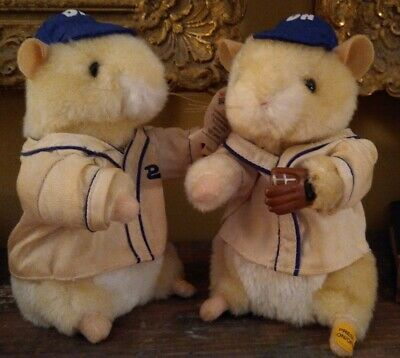 """Gemmy Dancing Hamsters Teddy Ballgame 2002 Dances """"Take Me Out To The Ballgame"""""""