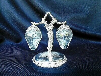 Clear glass hanging strawberries salt and pepper shaker on silver plate stand HT
