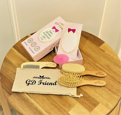 GDFriend 6 Piece Baby Wooden Hair Brush and Comb Set