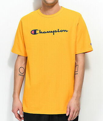 Champion Mens S/S T-Shirt SCRIPT Athletic Gym YELLOW GOLD Streetwear L-3XL $30