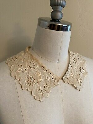 Antique Vintage Victorian Embroidered Eyelet Lace Collar Restoration Project
