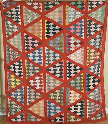 GORGEOUS Vintage 1910's Pyramids Antique Quilt Top ~NICE RED FRAME!