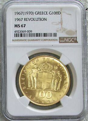 1970 Gold Greece 100 Drachmai 1967 Revolution Coin Ngc Mint State 67