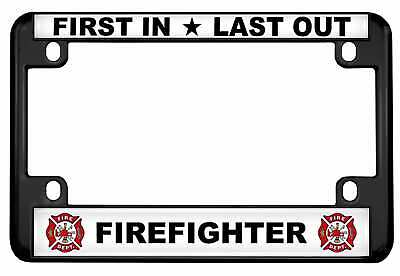 Motorcycle Metal License Plate Frame - Firefighter