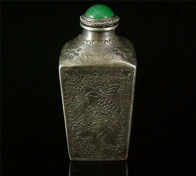 Antique Old Chinese Silver Made Snuff Bottle INCISED W/ DOUBLE GOLDFISH, LOTUS