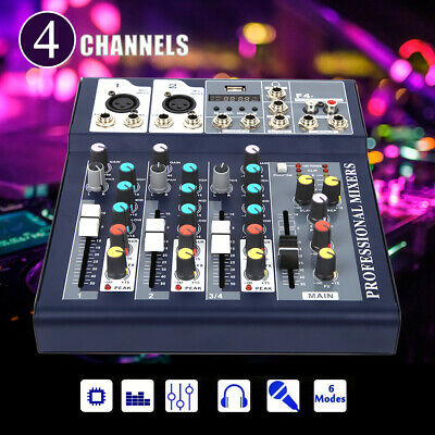 Audio Mixer Console Professional Mixing Amplifier Sound Mixer 4 Channels
