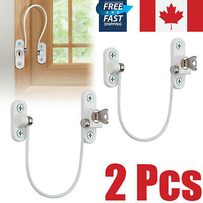 2PCS Window Door Restrictor Baby Child Safety Lock Cable Catch Lockable Cable CA