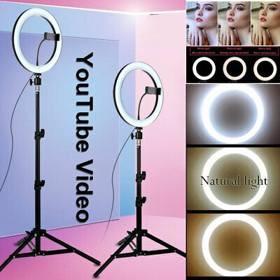 10'' LED Studio Ring Light Dimmable Photo Video Lamp Tripod Selfie Phone Holder