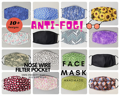 Face Mask Washable Reusable with Filter Pocket Kids Adult  handmade made in USA