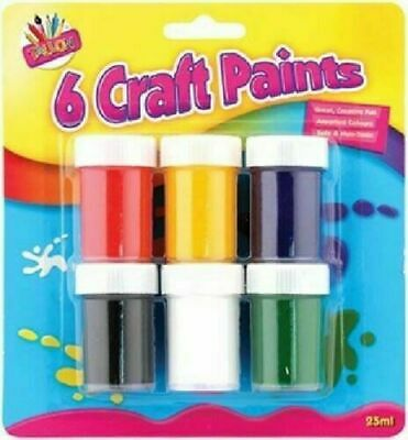 Kids Craft Glitter & Paints 6 Childrens Painting Clay Pots Fun Colours Paintings
