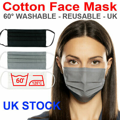 Cotton Mouth Face Mask Reusable Mask Washable Black Adult Mask Wholesale Lot UK