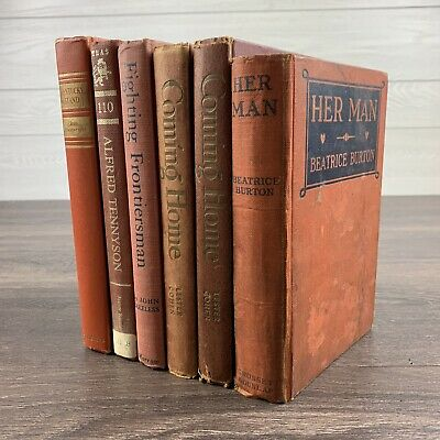 Lot Of 6 Antique & Vintage Books Red Brown Orange Rustic Farmhouse Library Decor