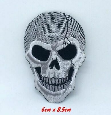 Checkered Flag Racing Speed Demon Skull Iron On Sew On Embroidered Patch 4.7/""