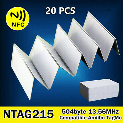 20Pcs NFC Tags Cards NTAG215 White Blank PVC 504Bytes Chip Sticker Waterpoof New