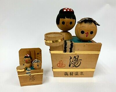 Vintage Kokeshi Doll Japanese Wooden Bathing Hot Spring Onsen Girl Boy Art Paint