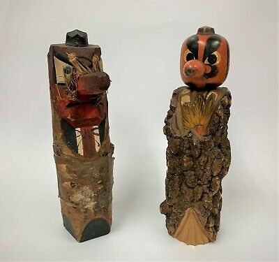 Vintage Japanese KOKESHI Doll Lucky Tengu Netsuke Wooden Inari Ornament Carved