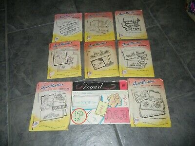 Vintage Vogart + Aunt Martha's Hot Iron Transfer Pattern Embroidery x 9 Some Cut