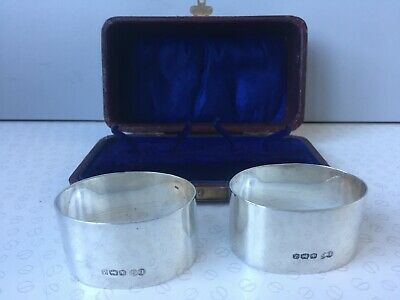 Vintage Pair of Boxed Silver Napkin Rings by Edward Sweet