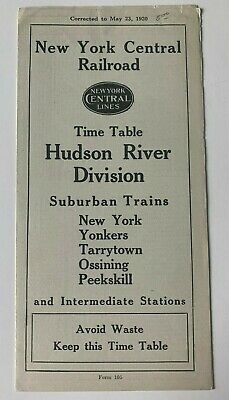 Vintage 1920 New York Central Railroad Hudson River Division Timetable RR train