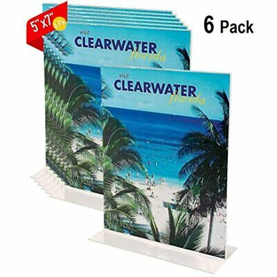 Acrylic Sign Holder 5x7, Vertical Plastic Stand-Up Holder, 5&quot 7&quot (6