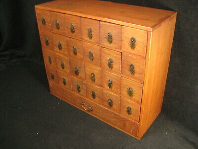 ANTIQUE EDO ERA c1850 JAPANESE KIRI WOOD 25 DRAWER KUSURI TANSU APOTHECARY CHEST