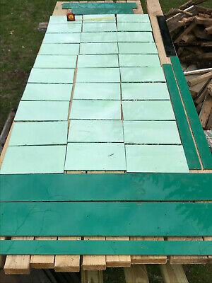 "Antique Vintage Jadeite Green VITROLITE GLASS TILE Art Deco 8""X12"""