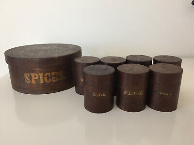 1800s round wood spice containers - set of 8 wooden boxes