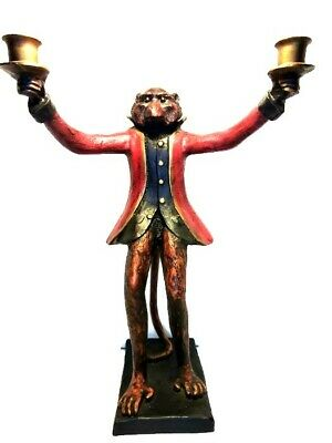 Bill Huebbe Red Coat Monkey Butler Candlestick Holder