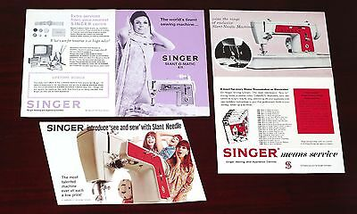 THREE vintage c1960s SINGER SEWING MACHINE advertisements / pamphlets - VGC !