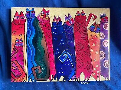 Laurel Burch Rainbow Cats Streched Canvas Print 16 x 12 Picture Art Feline