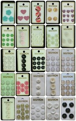 Beutron CARDED  SMALL BUTTONS PLEASE SELECT FROM 16 OPTIONS VARIOUS COLOURS & SZ