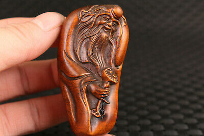chinese old boxwood handmade god of longevity figure statue hand piece