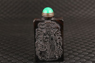 Chinese old yak horn handmade carving statue snuff bottle collectable decoration