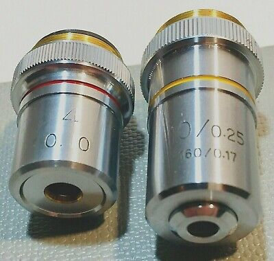 Lot of 2 Achromatic Microscope Objectives  4X and 10x  Ships FREE.