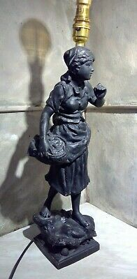 Late 19th Century French Spelter Figurine Lamp - Signed E Rousseau